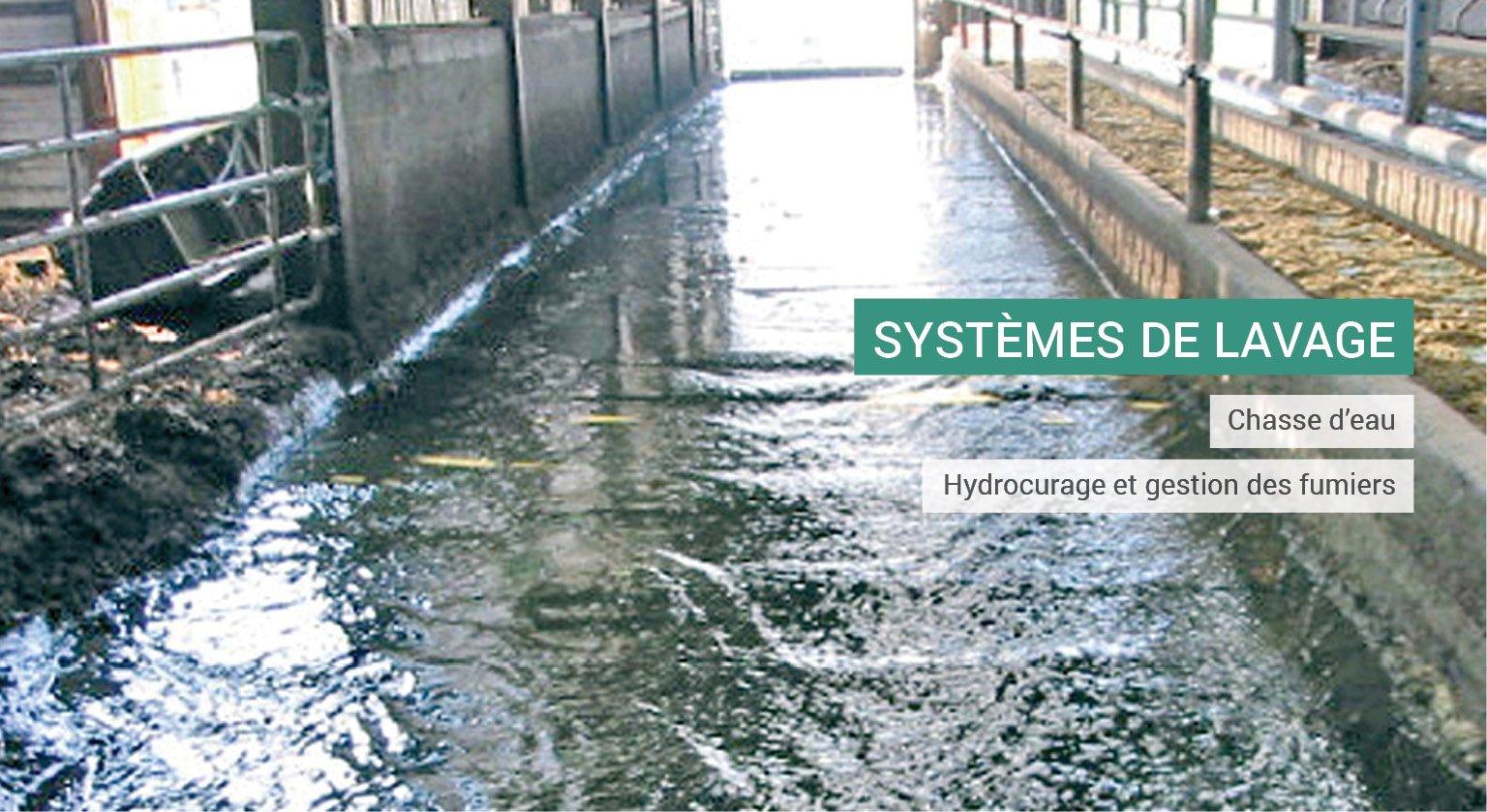 Système de lavage agricole : chasse d'eau