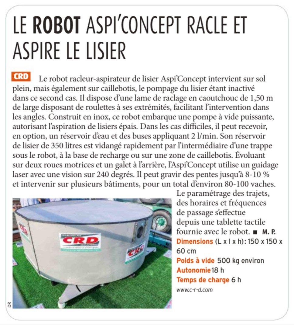 Article de presse sur le robot aspi'concept de CRD